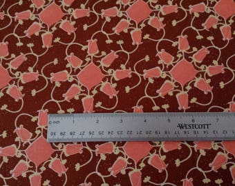 TINA GIVENS Lilliput Fields pink and Brown patchwork fabric
