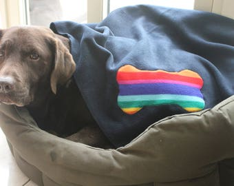 Large, fun polar fleece dog blanket - many different colour combinations available