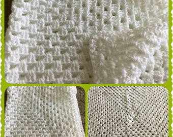 Beautiful Unisex Crochet'd  White Baby Blanket, Baby Shower Gift, Coming Home Baby Blanket
