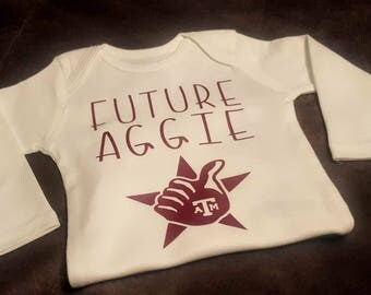 Texas A and M, Future Aggie, College Onesie, College, A&M Football,  Football, Sports Baby, Sports Onesie, Texas Football