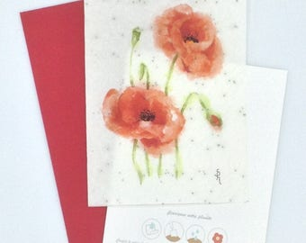 Watercolor poppies on seeded paper card
