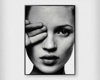 Kate Moss Close Up Print | Fashion | Black - White | Photography - Model - Poster