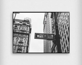 Wall St Print | City | Black - White | New York - NYC - Poster