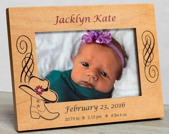 Personalized Baby Picture Frame, Baby Girl Picture Frame, New Baby Girl Frame, Baby Girl Frame, Baby Girl Birth Frame, Western Baby Frame