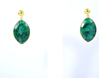 Emerald earring,gemstone stud, natural stone earring , marquise earring,  green color stud , drop   earring,eye shape stud, emerald jewelry
