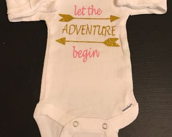 Let the Adventure Begin Onsie, Newborn, Onesie, Unisex, Adventure, Baby Gifts, Baby Outfits