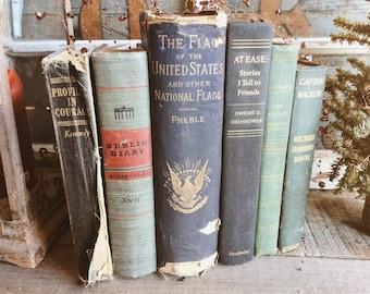 Old Books - 1880 Flag History, Eisenhower & JFK