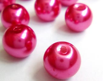 20 8mm Pink Pearl glass beads