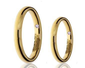 Love Mark Wedding Bands - 18K Yellow Gold