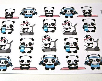 Panda Stickers - Panda Planner Stickers - Workout Stickers - Fitness Stickers - Healthy Pandas - Busy Pandas