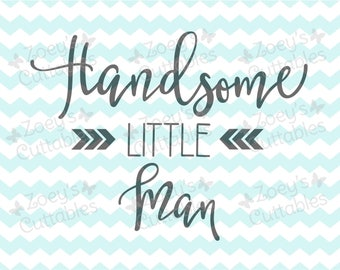 Handsome Little Man Chevron - Cuttable SVG File, Instant Download, DXF, JPG, Cricut and Silhouette files, Cuttable designs, Design files