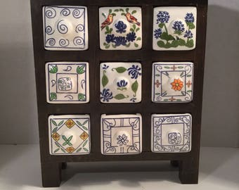 Vintage Handcrafed  Wood And Ceramic Spice Rack