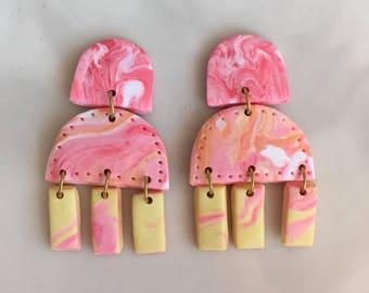 Pink Lemonade Polymer Clay Drop Earrings