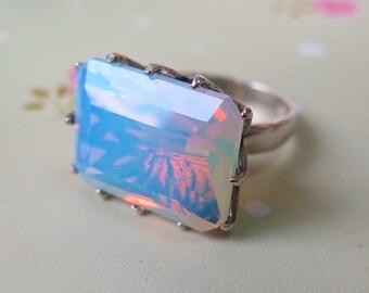 Sale - Crystal Ring, Opalite Ring, Gemstone Ring, Silver Opalite Ring, Opalite Silver Ring, Sterling Silver Ring, Opalite Jewelry, gemstone