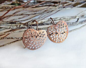 Copper print antiqued brass earrings