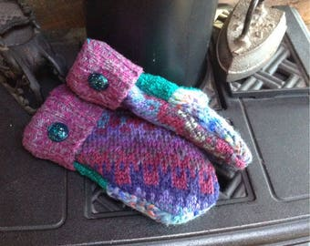 Ladies' small sized, sweater mittens, with vintage glass buttons