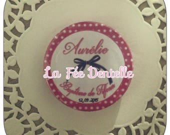 Badge personalised name + date and event 38mm