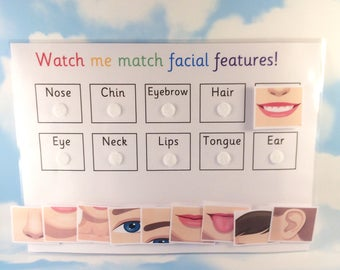 Matching facial features learning sheet, Face matching, EYFS, Early years, Educational toy, Velcro backed, Interactive learning, KS1, KS2