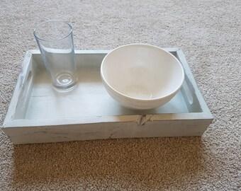 Handmade small wooden shabby chic serving tray