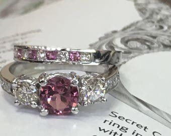 18k white gold tourmaline diamond engagement ring