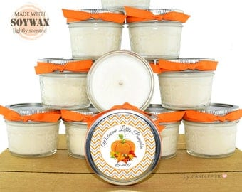 12 ct Fall Baby Shower favors, 4 oz personalized soy candles, orange and gray theme, Welcome Little Pumpkin baby shower