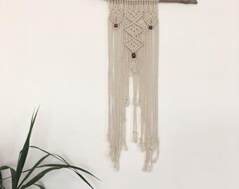 Macrame wallhanging driftwood beads
