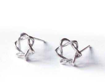 Line Star 925 silver stud earrings (SE016)
