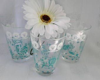Set of Three Swanky Swigs Juice Tumblers, Antique Motifs