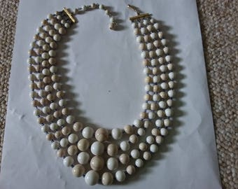 Another vintage stone, marble type multi strand beaded necklace. Four strands. Estate found costume jewelry