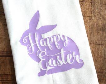 Easter Kitchen Towel - Happy Easter - Holiday Decoration - Easter Bunny Rabbit - Decor - Tea Towel - Flour Sack - Purple - Lilac