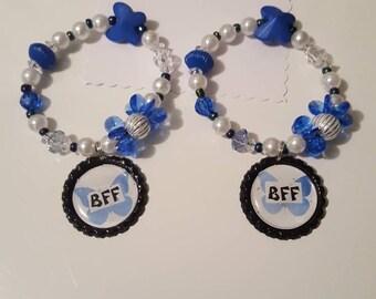 Girls Bottle cap bracelet/Girls/BFF style set/blue butterfly/jewelry