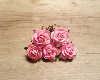 Pink Rose Hairpin, Wedding Hair Piece, Gift for Her, Flower Hair Pins, Christmas Gift, Hair Accessory