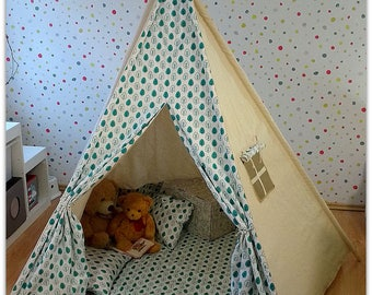 Turquoise Leaves Kids Teepee Tent Wigwam (all handmade) Play House 100% cotton PENTAGON