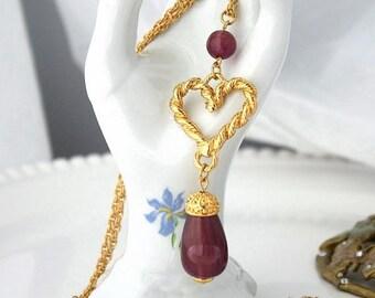 SALE AVON Heart Necklace , Vintage Necklace , TheKeepDrawer, Long Chain, Womens Accessories