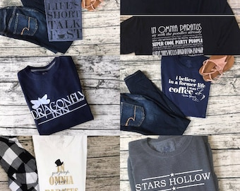 Gilmore Girls Shirt Bundle! Pick any three  - Cute and cozy shirts from the show Gilmore Girls - FREE SHIPPING