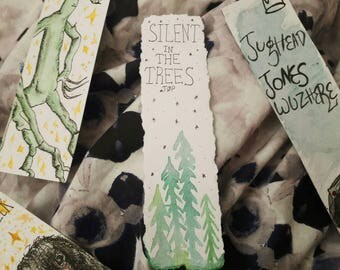 "Made to order: Twenty One Pilots inspired ""silent in the trees"" handmade torn bookmark"
