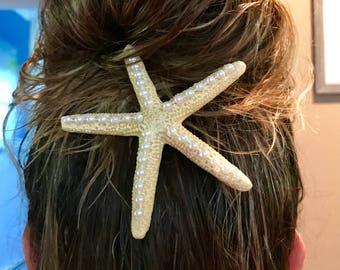 Starfish hair embellishment sea life hair clip adornment beach bride hair accessory large sea star clip