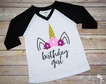 Birthday Girl - Birthday Shirt - Unicorn Birthday - Girls Unicorn Shirt - Unicorn Shirt - Unicorn birthday Shirt - Glitter Unicorn Shirt