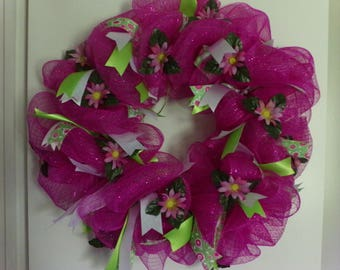 Pink, Summer Wreath,Pink Wreath, Summer Flower Wreath, Girls Wreath