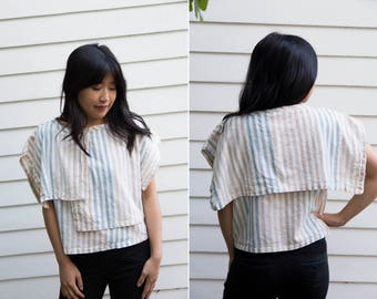 Striped Cotton Boxy Crop Top// Natural Colors