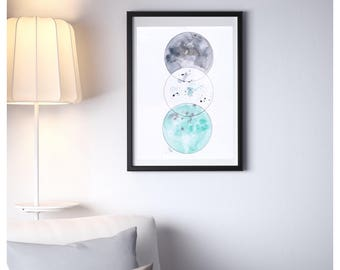 Illustration Scandinavian turquoise and gray watercolor, poster moons, minimalist, sleek, decoration, Scott