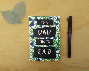 Father's Day Card, Dad Birthday Card, dad card, Rad Dad, dad day, Daddy, For Him, cool dad, cool dude, card for dad, Pattern card