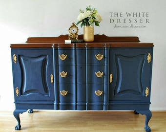 SOLD Large Hand Painted Midnight Blue Vintage Sideboard/ Buffet/ Server/  Dresser/ Blue