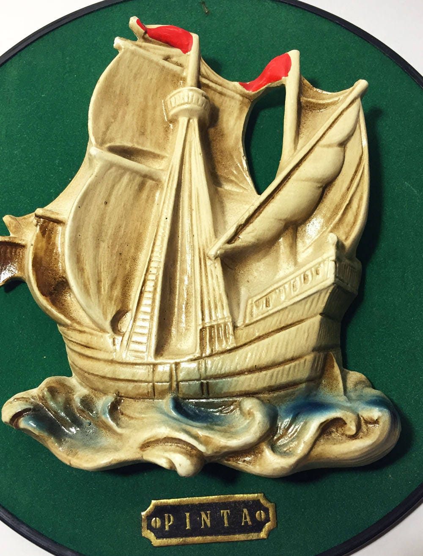 Vintage Ship Chalkware on Green Velvet Background, Wall Art Decor ...