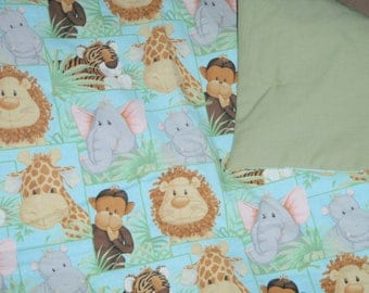 Jungle animal baby quilt