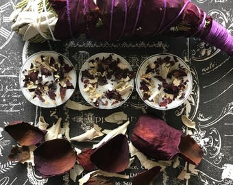 Six Handmade Rose petal and sage tea lights, Meditation herb candles, Rose petal infused tea light, tea light, spell candles, Sage candles