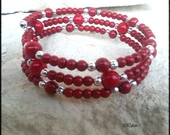 Beaded red burgundy - boho chic - french artisaant