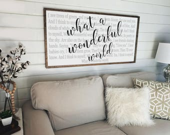 What a Wonderful World Sign | Large Wood Sign| Rustic Sign | Farmhouse Decor | Wooden Framed Sign | Nursery