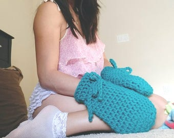 ABDL Adult Baby Scratch Mittens *Ready to ship* Solid Emerald Green Crochet