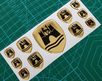 VW R Line Wolfsburg Coat of Arms 3d domed sticker emblems Golf Polo CC - GOLD